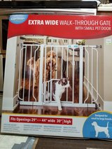 Extra wide pet gate with small pet door - NEW IN THE BOX in Wilmington, North Carolina