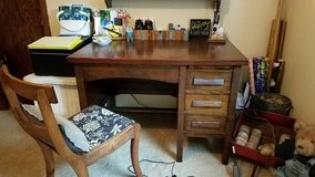 Antique Wood Teacher Desk and Chair in Brookfield, Wisconsin