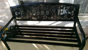 Metal Welcome Bench in Cary, North Carolina
