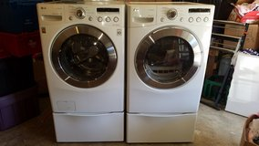 LG front load washer and dryer set with pedestal - local delivery possible in Fort Lewis, Washington