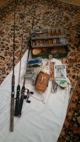 Fishing poles,tackle,1green tackle box full,1 orange box with 2 sides full of flies.sinkers hook... in Kissimmee, Florida