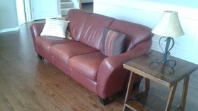 Maroon leather sofa and chairs in Naperville, Illinois