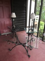 Wrought Iron Coffee table, 2 End Tables w/Lamps in Warner Robins, Georgia