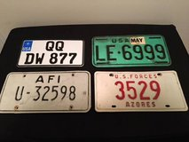 US military overseas license plates - 4 sets of matching plates in Fort Meade, Maryland