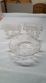 etched glass bowl, matching candle holders and glass plates in Bartlett, Illinois
