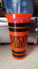 Victoria's secret pink tumbler cup with straw in Aurora, Illinois