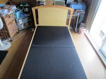 Bed frame Twin size. Wood. Very strong. No mattress. Call 08042721978 in Okinawa, Japan