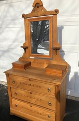 Vintage Primitive Ash dresser w/mirror and side drawers in Westmont, Illinois