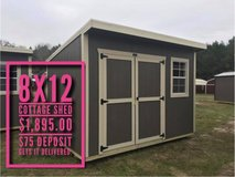 8x12 Cottage Shed in Fort Polk, Louisiana