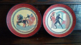 2 vintage terracotta plates handmade in Greece in Kingwood, Texas