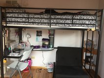 Loft bed (twin) with desk underneath / black metal in Joliet, Illinois