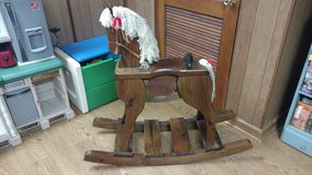 Vintage wooden rocking horse in Naperville, Illinois