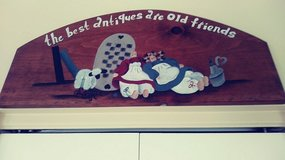 Hand painted wooden plaque in Westmont, Illinois