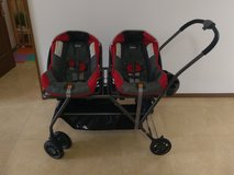 Two Chicco Car Seats with Joovy Twin Roo Stroller in Okinawa, Japan