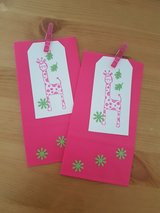 8 Goody Bags With Giraffe Gift Tags Handmade in Ramstein, Germany