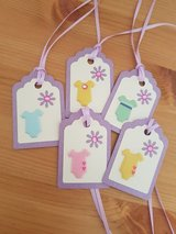 5 Baby Shower Gift Tags Handmade in Ramstein, Germany