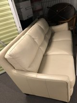Cream Leather Couch/Sofa in Westmont, Illinois