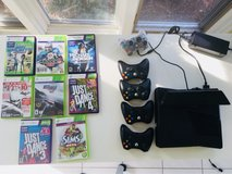 XBox 360 with Kinect and 5 Controllers and 8 games in Plainfield, Illinois