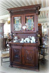 rare breton hutch with stained glass in Ansbach, Germany