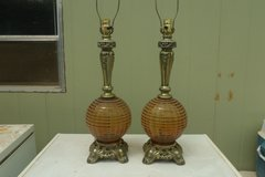 Brass and Amber Glass Lamps in Alamogordo, New Mexico