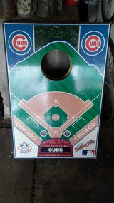 Cubs Cornhole game, with bags in Sandwich, Illinois