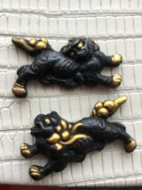 Shi Shi dogs set for Menuki handle ornaments of samurai sword in Okinawa, Japan
