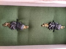 "Set of ""Suemon"" Battle Flags  Menuki in custom made Kiri wood box with green cloth pillow. in Okinawa, Japan"