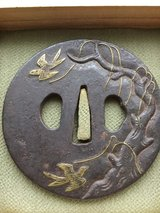 Edo Period Iron Tsuba of Sparrows or Swifts and Willow Tree in custom made Kiri would box with P... in Okinawa, Japan
