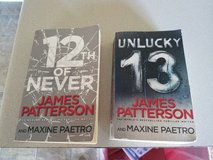 James Pattersons 12th of Never and Unlucky 13 books in Fort Polk, Louisiana