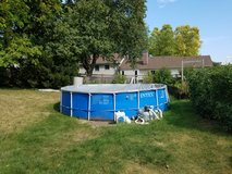 Above Ground  18' Intex  Swimming Pool-Metal Frame, High end stairs and upgraded filter & pump in Glendale Heights, Illinois