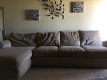 Tan down filled sofa with chase !!!JUST REDUCED FROM $60!!! in Yucca Valley, California