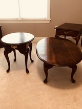 Cresent solid wood coffee table and 2 end tables with drawers. in Cary, North Carolina