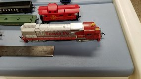 HO gauge train engines and cars in Aurora, Illinois