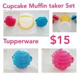 New Tupperware Cupcake Muffin taker container set pink blue yellow in Baytown, Texas