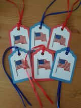 6 American Flag Gift Tags Handmade in Ramstein, Germany