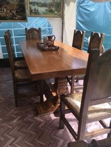 great vintage solid oak dinning table with 6 chairs from France in Ramstein, Germany
