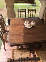 antique solid wood squared dinning table with 6 bistro chairs from France in Ramstein, Germany