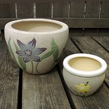 2 DECORATIVE CERAMIC FLOWER or GARDEN DECK POTS in Bolingbrook, Illinois