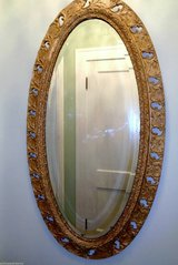 LARGE Antique Gilt Wood & Gesso French Baroque Style Oval Mirror in Algonquin, Illinois