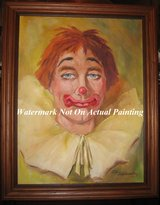 Handsome Sad Happy Clown Original Oil Painting on Canvas in Tinley Park, Illinois