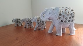 Carved Soapstone Elephants in Fort Eustis, Virginia