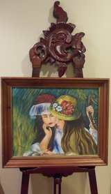 Original Signed Oil Painting Sisters Bestfriends in Fancy Hats in Tinley Park, Illinois