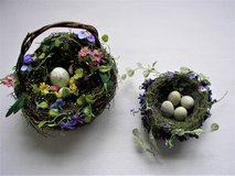Floral Basket and Bird Nest w/Flowers- Both w/ Eggs Good Condition in Chicago, Illinois