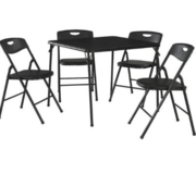 Cosco 5pc Folding Chairs and Table (Black) - NEW! in Chicago, Illinois