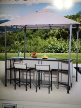 Outdoor Bar Table Set Cloth Canopy & 2 Chairs Patio Backyard Furniture (Brand new, still in the ... in St. Charles, Illinois