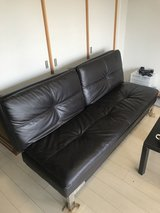 Faux Leather Couch - Turns in to a double bed! in Okinawa, Japan