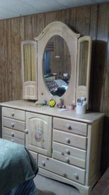 Ladies Dresser with Tri-Fold Mirrors and Night Stand in Mountain Home, Idaho