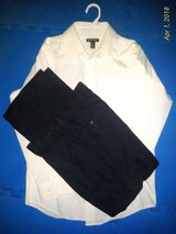 Boys Sz 14/16 Black Dress Pants and White Dress Shirt in Ramstein, Germany