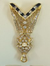 18 K Yellow Gold Art Deco Pendant 4.40 ct Brilliants 1.30 ct Sapphire in Ramstein, Germany