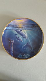 """Porcelain Dolphon Plates 8"""" Designed by Dennis Delmary (12 Plates) in Yucca Valley, California"""